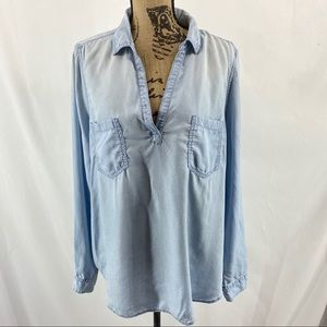 Mudd Pullover Chambray Tunic Top